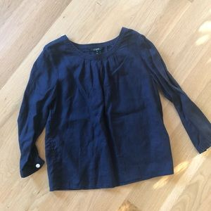 JCrew Navy linen top